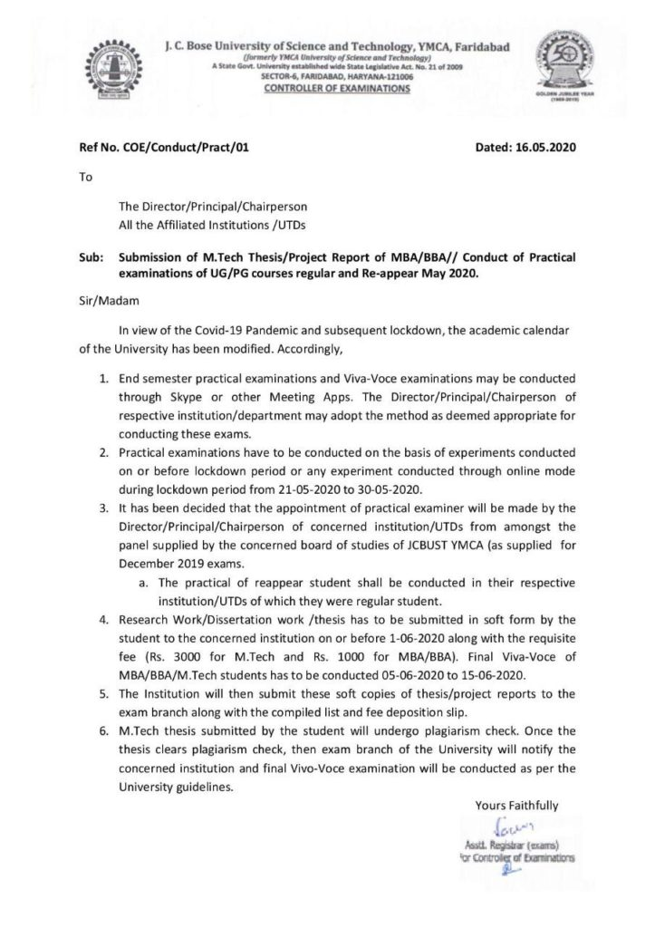 Notice regarding Submission of MTech Dissertation and MBA/BBA project report May 2020