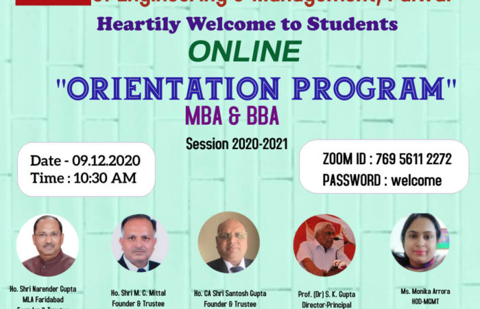 Online Orientation Program Session 2020-2021 For MBA & BBA