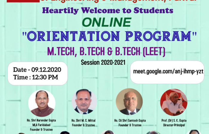 Online Orientation Program Session 2020-2021 for M.Tech, B. Tech & B.Tech(LEET)