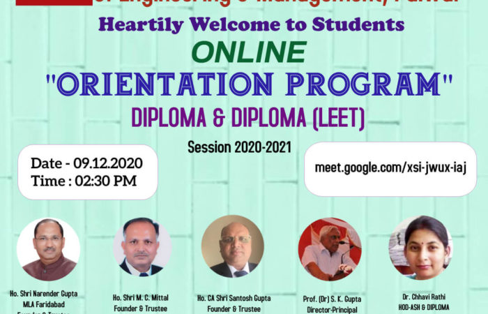 Online Orientation Program Session 2020-2021 for Diploma & Diploma (LEET)