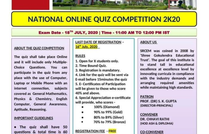 NATIONAL ONLINE QUIZ COMPETITION 2K20